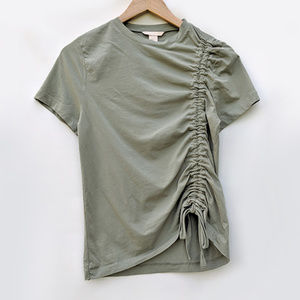 H&M Cotton Side Ruched Short Sleeve T-Shirt